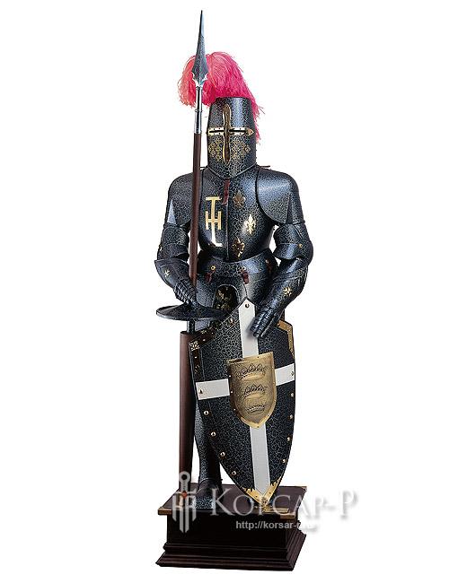 Доспехи рыцарские черные со щитом.