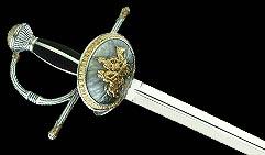 Шпага Дон Кихот, серебро с золотом