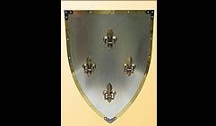 Настенный щит с гербом  Четыре лилии  , серый с золотым кантом