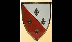 Настенный щит с гербом Четыре лилии, красно-белый