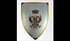 Настенный щит с гербом  Двухглавый орел  , серый с золотым кантом