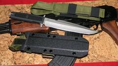Нож-танто  Гарпун  , кл. сер. матовый, рук. черн. резина, пластик. чехол
