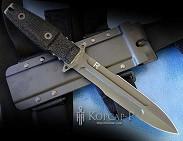 Нож-кинжал  Праеториан II  кл. черн. обоюдоостр. ребро жесткости, рук. черн. нейлон, ч. пласт