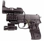 Модель пневмат. air-soft пистолет SIG SAUER P228, черн, с прицелом ред-дот и фонариком