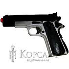 Модель пневматич. air-soft пистолет М1911, утяжеленный, черный/серебр. , пластик