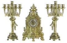 Часы каминные и 2 канделябра  Купидон  на 5 свечей, 3 предм.