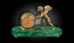 Часы  Купидон  малахит