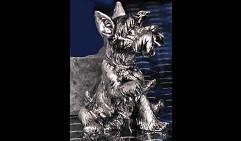 Собачка сидящая с поднятой лапой