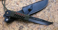 Нож  Охотник  3-х слойн. ст. голуб. , гарда латунь, рук. о