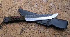 Нож  Охотник  3-х слойн. ст. голуб. , рук. обмот. зел. корд