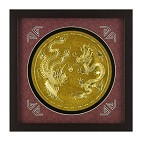 Картина  Золотая тарелочка дракон и феникс