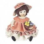 00042 Кукла в розовом с цветами h 14cm