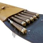 Колчан, шампуры 6шт. , длина 58см, рукоять из ореха и латуни - колпачок