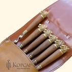 Колчан, шампуры 6 шт. , длина 58 см. , рукоять из ореха и латуни - волк
