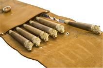 Колчан, шампуры 6 шт. , длина 58 см. , рукоять из ореха и латуни - кабан