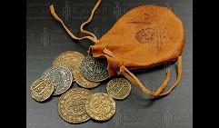 Кожаный кошелек, 8 старинных монет, 25 см.