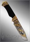 Нож охотничий украшенный  ФИЛИН  дамаск (О-19)