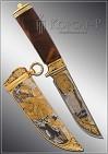 Нож охотничий украшенный  ОБЛАВА  дамаск (О-5)