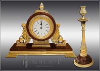Подарочный набор украшенный с часами и подсвечником  ЯШМА