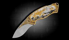 Нож складной украшенный  ОХОТА  (О-30)