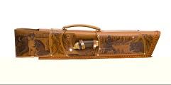 Шампурница из натуральной кожи, мангал, нож, тяпка, шампура 6 шт. , 58 см.  СОВА
