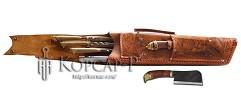 Шампурница из натуральной кожи, мангал, нож, тяпка, шампура 6 шт. , 58 см.  ВОЛК