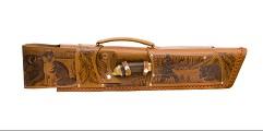 Шампурница из натуральной кожи, мангал, нож, тяпка, шампура 6 шт. , 58 см.  КАБАН