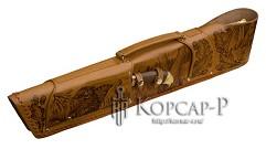 Шампурница из натуральной кожи, мангал, нож, тяпка, шампура 6 шт. , 58 см.  АССОРТИ