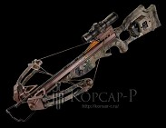 Арбалет Stealth XLT, 95lbs, прицел Rangemaster Pro, ручной натяжитель AcuDraw50, кивер на 4 стрелы быстросъёмный, 6 карбоновых стрел с тренир. наконечниками, кепка, ДВД, стикер на стекло, цвет камуфляж Realtree APG
