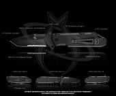 Нож  Folding Pry  скл, сталь 154CM, черн, рук. G-10, зубц, клипса