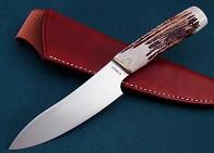Нож  CaptainStag  , ст. 440, рук. рог, чех. кож. кор