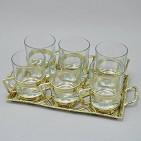 Набор:: поднос  Плетенка  + 6 стаканов в подстаканниках