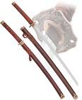 Набор самурайских мечей, 2 шт. подарочная коробка, настольная подставка