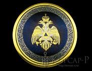 Панно на металле с фирменной символикой  МЧС  украшенная 300мм