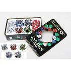 Набор покерных фишек с номиналом в жестяной коробке ( 100 фишек 11, 5 гр)