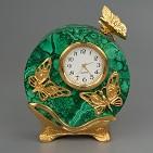 Часы  Бабочки  малахит.