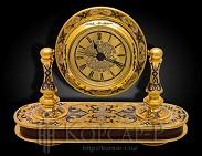 Часы настольные украшенные  ЯНУС  . Яшма