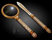 Набор офисный подарочный  ПЕДАНТ  украшенный (лупа и нож)