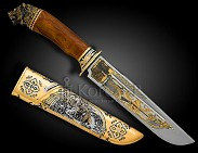 Нож украшенный  СХВАТКА  . Авторская работа.