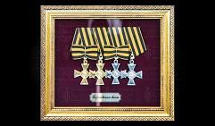 Георгиевский бант (солдатский) под стеклом. Копия.