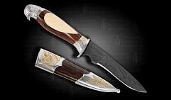 Нож украшенный  СОКОЛ  с дамасским клинком