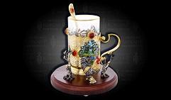 Набор чайный с подстаканником ПЕТУХ - Символ года.