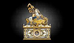 Часы каминные украшенные  ГЕОРГИЙ ПОБЕДОНОСЕЦ  (серебро 925, мрамор)