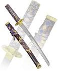Вакидзаси, р. желт. плет, нож. син, латун
